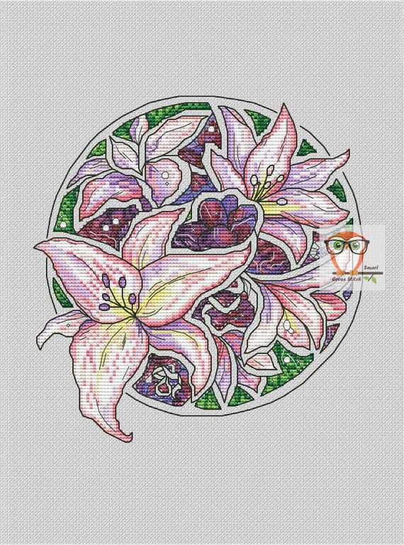 Lily cross stitch flower patten - floral cross stitch round embroidery  design, lilies plant pattern pdf, modern round cross stitch flowers