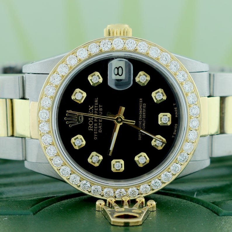 ab8f49aaff6 Rolex Datejust 2-Tone goud/staal 31mm Oyster w/Black Diamond | Etsy
