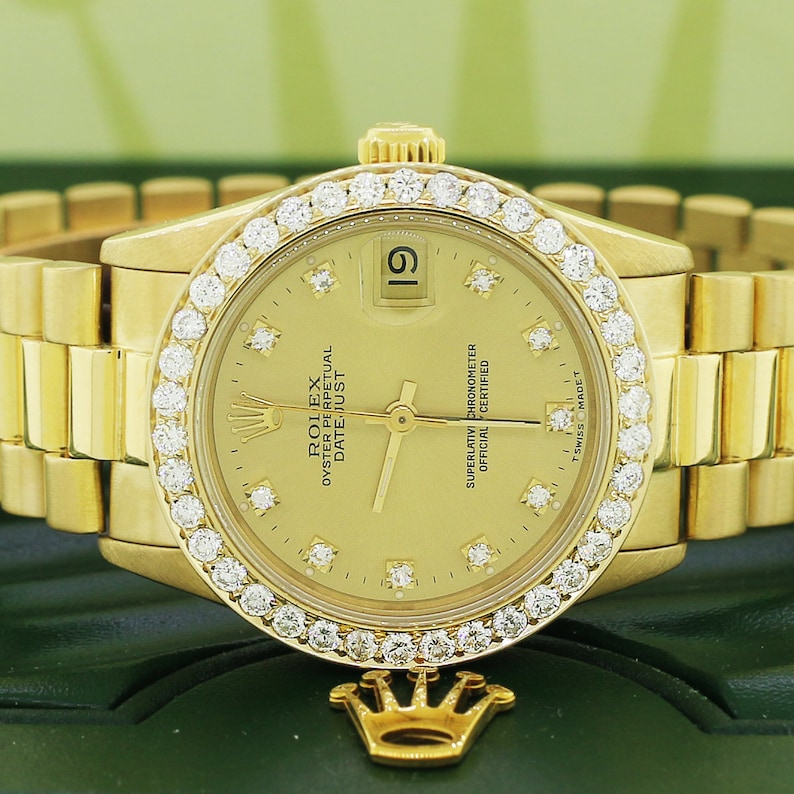 92957ac2ad0 Rolex President Datejust Midsize 31mm 18K Yellow Gold | Etsy