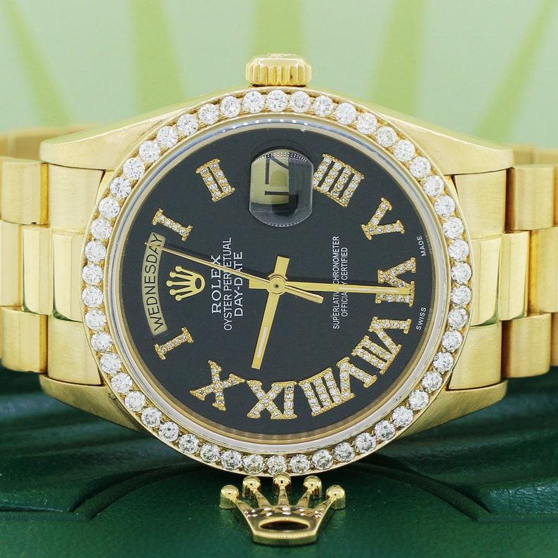 a4e6b51ab9f04 Rolex Président Day-Date 18K jaune or 36MM w/Black Watch | Etsy
