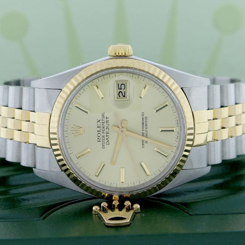52a11448582 Rolex Datejust Original Champagne Stick Dial 2-Tone 36MM | Etsy