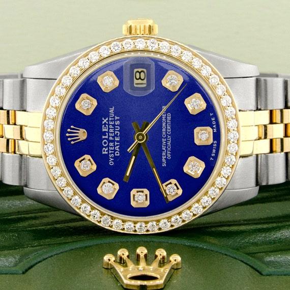 Rolex Datejust 2 Tone Goldstahl 31mm Damen Uhr Wblau Zifferblatt Diamant Lünette