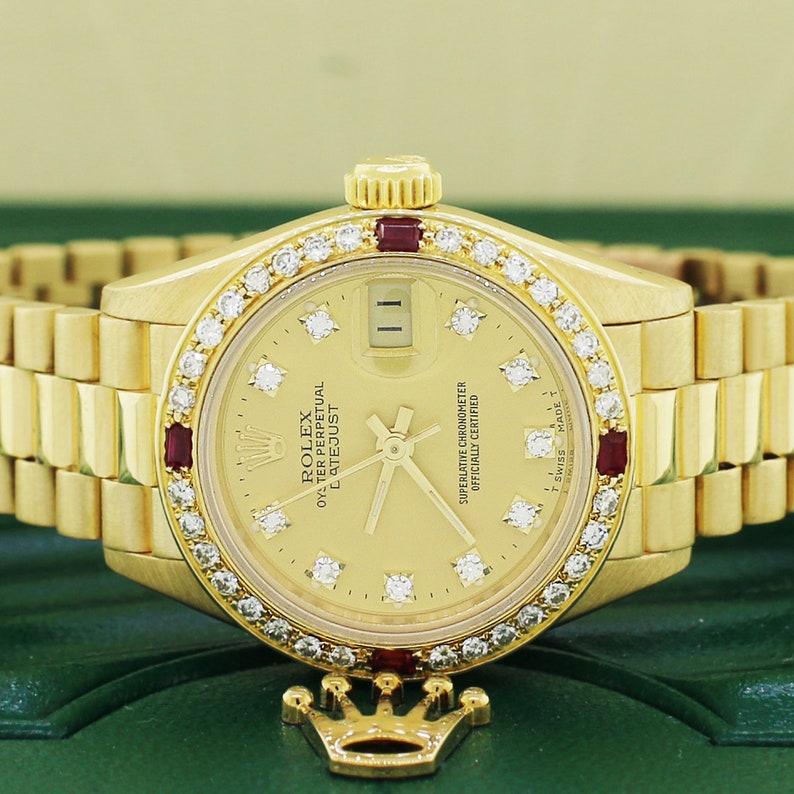 94e67725d0f Le Président Rolex Datejust dames 18K or jaune diamant Rolex