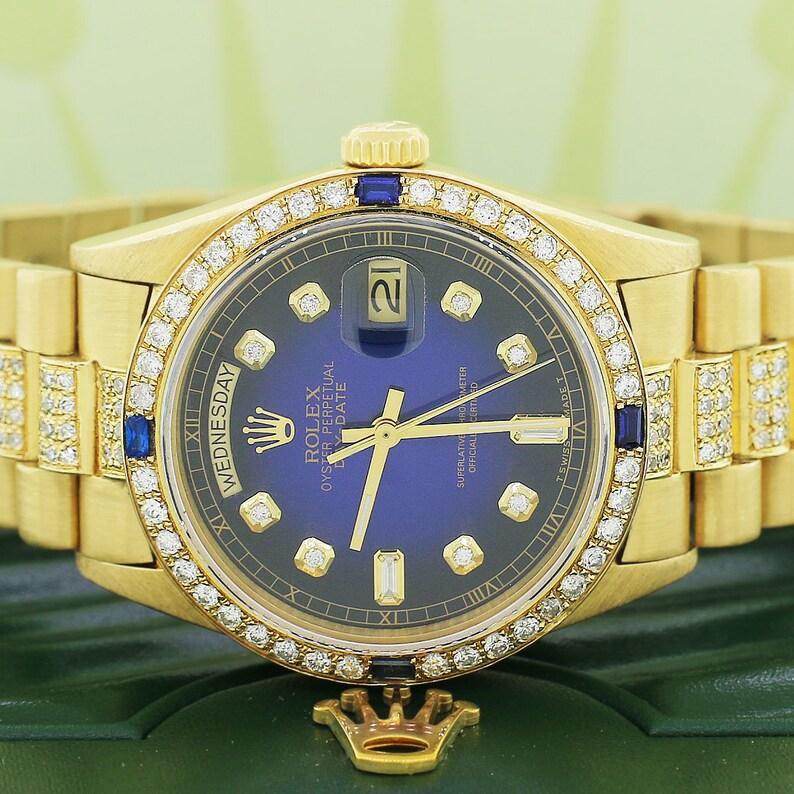c183f3e016a Rolex President Day-Date Yellow Gold 36MM Watch w/ Custom | Etsy