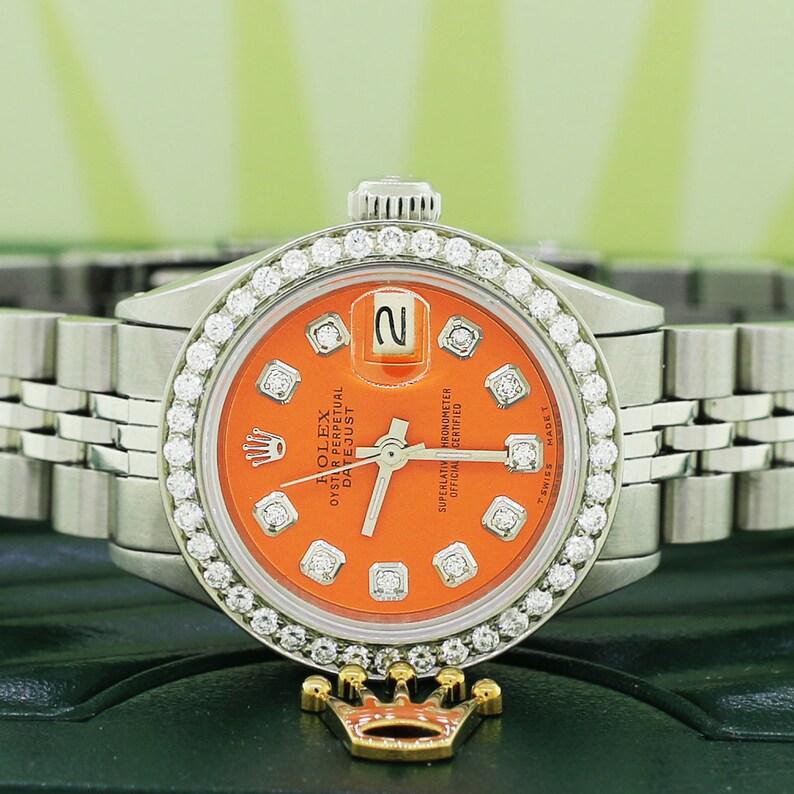 5a3ed6ef3a3f Rolex Datejust Ladies 26mm Steel Jubilee w Tiger Orange Dial