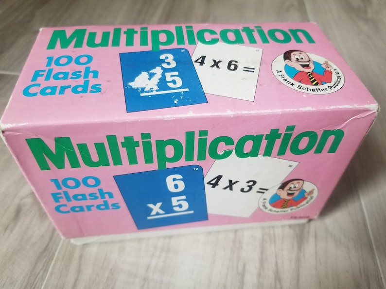 Homeschooling supplies Multiplication flash cards 1989 Frank Schaffer Publications Vintage math tutoring cards From the 80s