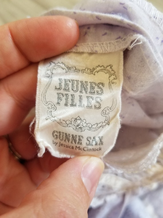 Vintage girls Gunne Sax purple floral dress, prin… - image 7