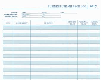 Business Use Mileage Log
