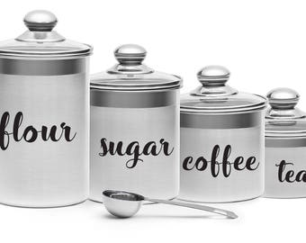 Canister Label Decals Flour Sugar Coffee Tea Labels Vinyl Decal
