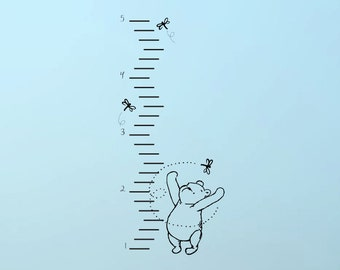 Classic Winnie the Pooh growth chart vinyl wall decal