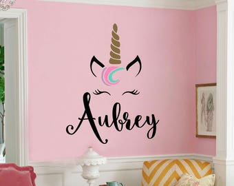 481799baba1 Unicorn Monogram Unicorn Themed Girls Room Unicorn Nursery Vinyl Wall Decal  Wall Sticker
