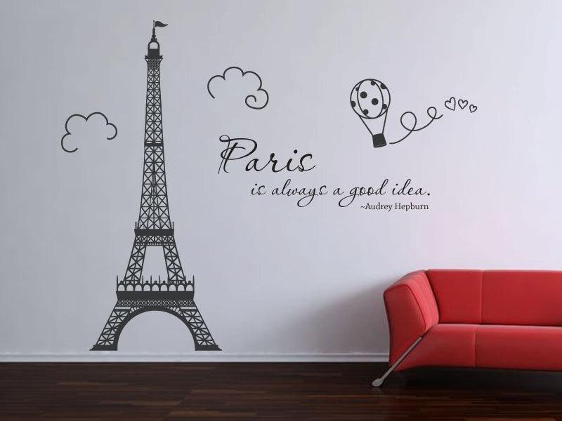 Paris Eiffel Tower Audrey Hepburn Quote Wall Decal Vinyl Decal Etsy