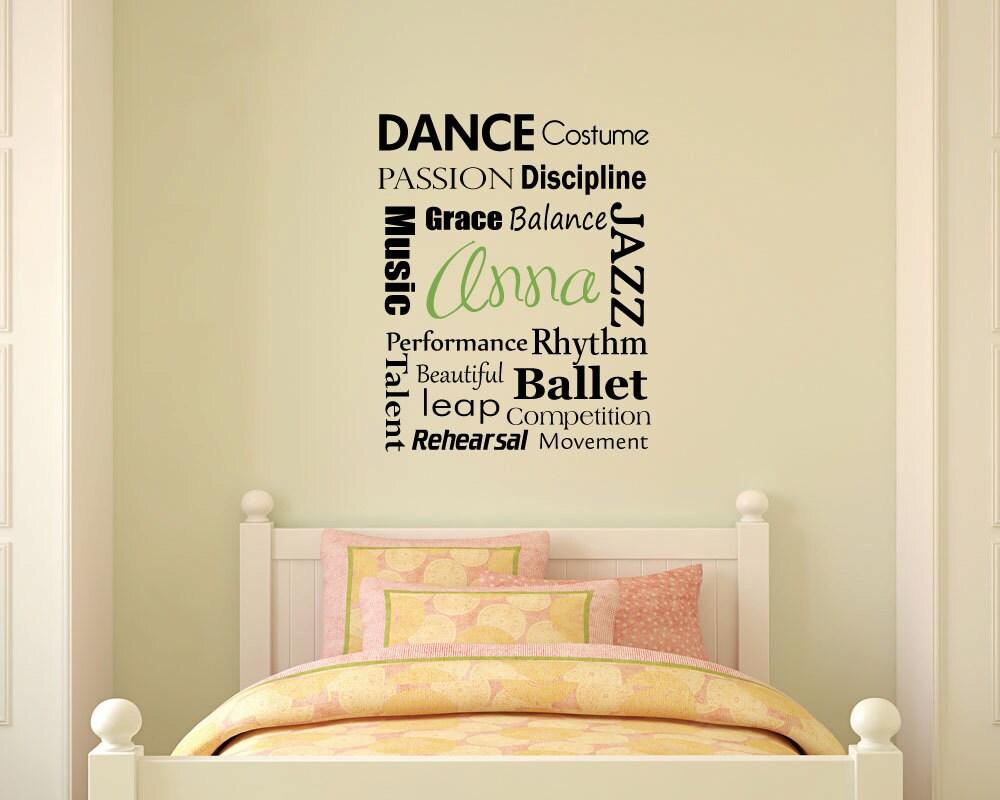 Dance Words Monogram subway art monogram wall word decal | Etsy