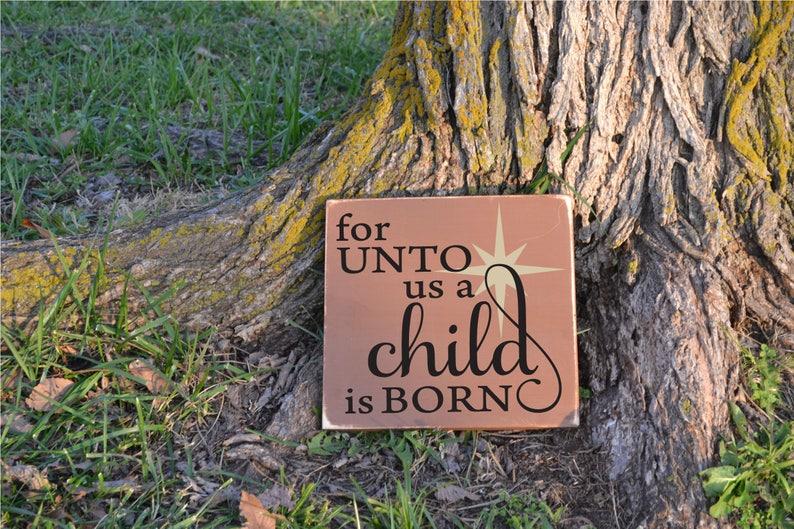 For Unto Us a Child is Born Christmas Carol Lyrics Distressed | Etsy