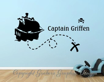 Pirate Ship Captain monogram boys room graphics vinyl wall decal