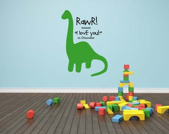 RAWR! Means I love You in Dinosaur Vinyl wall decal
