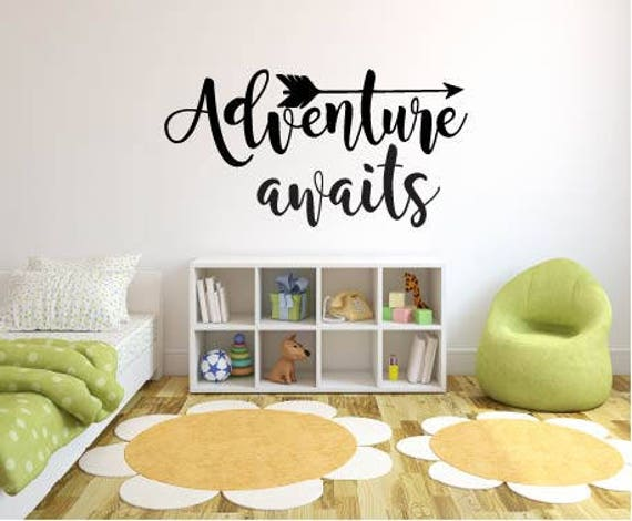 adventure awaits quote vinyl decal up movie quote wall sticker | etsy