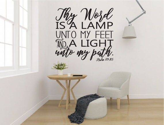 Psalm 119:105 Bible Verse Vinyl Wall Stickers Decals Scripture Quote Word Decor