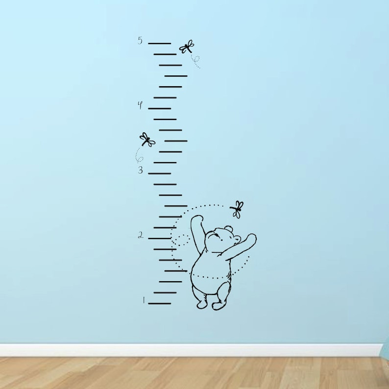 classic winnie the pooh growth chart vinyl wall decal   etsy