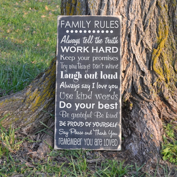 Family Rules Wood Sign Vinyl Decal Wood Sign Etsy