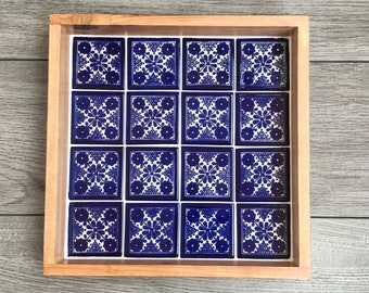 """Small Wooden Decorative Tray with Blue and White """"Damasco"""" Mexican Talavera Tiles"""
