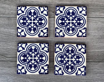 """Blue and Off-White """"Miranda"""" Mexican Tile Coasters"""
