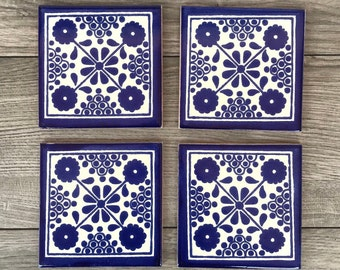 """Blue and Off-White """"Damasco"""" Mexican Tile Coasters"""