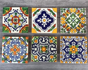 Mixed Set of 6 Mexican Tile Coasters