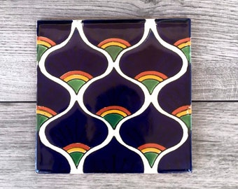 """6"""" Blue Peacock Pavo Real Mexican Tile Trivet"""