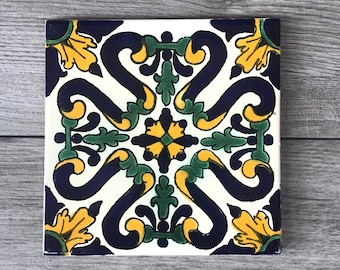 """6"""" Blue, Green, and Yellow """"Candela"""" Mexican Tile Trivet"""