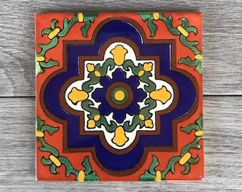 "6"" Orange and Blue ""Livorno"" Mexican Tile Trivet"