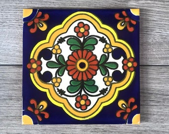 """6"""" Blue and Yellow """"Zarza"""" Mexican Tile Trivet"""