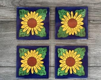 "Sunflower ""Girasol"" Mexican Tile Coasters"