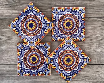 """Blue and Red """"Royal"""" Mexican Tile Coasters"""