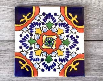 "6"" Blue ""Nube"" Mexican Tile Trivet"