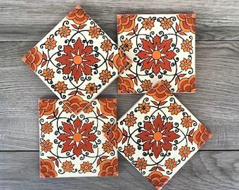 """Orange """"Enredadera"""" Mexican Tile Coasters"""