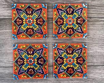"Orange and Blue ""Naranja"" Mexican Tile Coasters"