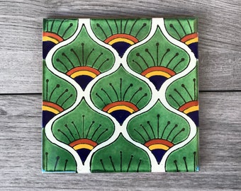 """6"""" Green Peacock """"Pavo Real"""" Mexican Tile Trivet"""