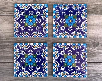 """Blue """"Escamilla"""" Mexican Tile Coasters"""