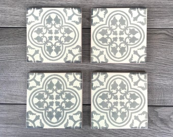 """Gray and Off-White """"Miranda"""" Mexican Tile Coasters"""