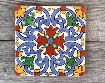 """6"""" Red """"Llama"""" Mexican Tile Trivet"""