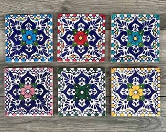 """Mixed Set of 6 """"Escamilla"""" Mexican Tile Coasters"""