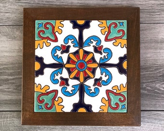 """Blue and White """"Mision"""" Malibu Mexican Tile Trivet with Wood Frame"""