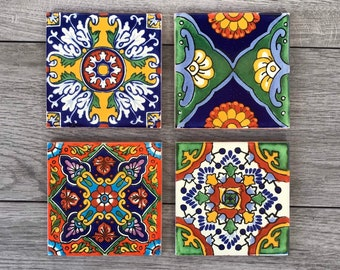 Choose Your Own Set of 4 Mexican Tile Coasters - Mix And Match