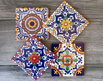 Mixed Set of 4 Mexican Tile Coasters
