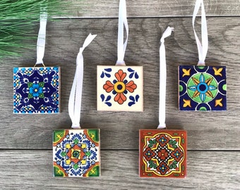 Mexican Tile Christmas Tree Ornaments
