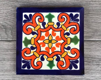 "6"" Blue and Orange ""Corona"" Mexican Tile Trivet"