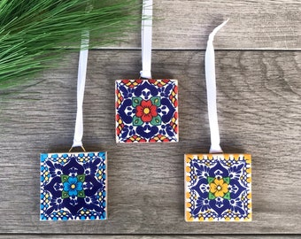 Set of 3 Mexican Tile Christmas Ornaments