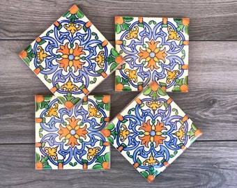 "Orange ""Llama"" Mexican Tile Coasters"