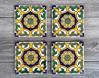 "Green and Yellow ""Salamanca"" Mexican Tile Coasters"